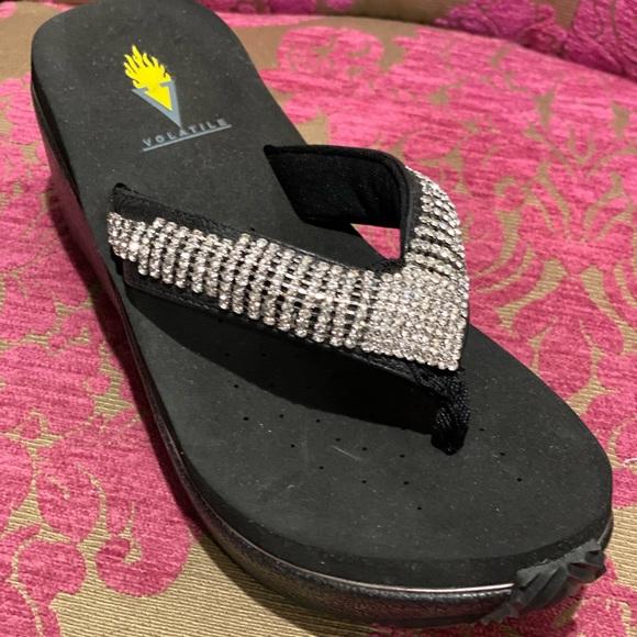Volatile bling flip flop wedge